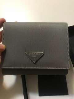 Prada grey nylon wallet