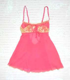 """Victoria's Secret"" 100% Silk Mesh and Lace Babydoll Lingerie"