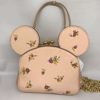 COACH X DISNEY KISSLOCK BAG WITH FLORAL MIX PRINT AND MINNIE MOUSE EARS sz 18x15CM with crossbody chain
