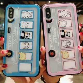 手機殼IPhone6/7/8/plus/X : 卡通熊貓巴士全包軟邊透明玻璃背板殼