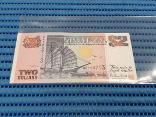 BN Singapore Ship Series $2 Note BN 780713 Replacement Dollar Banknote Currency TDLR