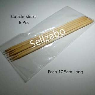 6 Nails Tools : Wooden Cuticles Sticks Finger Fingernails Toes Manicure Pedicure Care Sellzabo