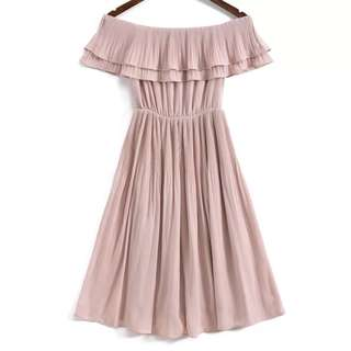OshareGirl 07 歐美女士純色氣質褶皺一字領連身裙洋裝