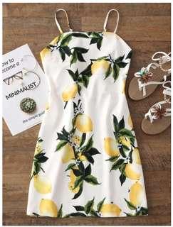 ed Printed Cut Out Mini Dress - White/Lemon Print - Size Small