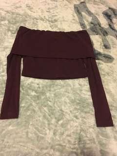 Kookai Marley Burgundy Maroon Off Shoulder Crop Size 2