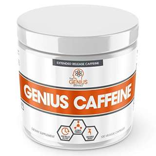 [IN-STOCK] GENIUS CAFFEINE – Extended Release Microencapsulated Caffeine Pills, All Natural Non-Crash Sustained Energy & Focus Supplement –Preworkout & Nootropic Brain Booster For Men & Women,100 veggie capsules