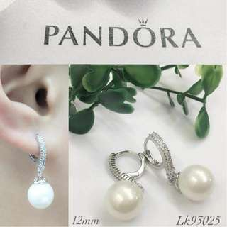 Pandora Italy White Gold 10K Stud Earrings Fresh Water Pearls with High Grade Russian Stones Saudi Gold 18K Authentic Bangkok Women's Stud Earrings (Not Pawnable)