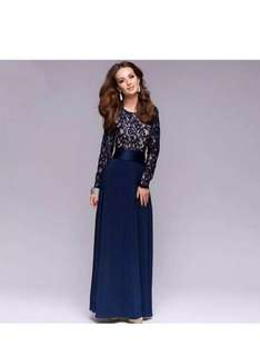 European Classic Long Sleeve Lace Combined Dinner Dress