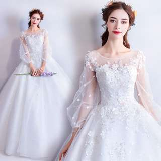 pre order white long sleeve prom bridesmaid wedding bridal gown dress  RB0684