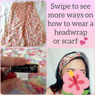 Boho Pink Floral Headwrap or Scarf