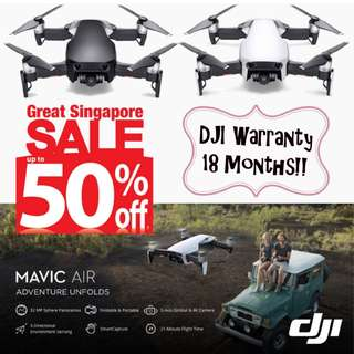 DJI MAVIC AIR (STANDARD SET) WHITE/BLACK -GSS PROMO! READY STOCK! FREE LOCAL DELIVERY! 18 MONTHS WARRANTY!