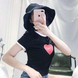 韓妞拼接色愛心英文字母短袖T恤百搭上衣-3色