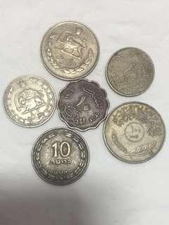 1930-70年代 中東地區 錢幣 6個