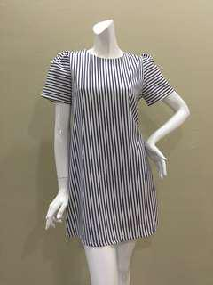 White Navy Stripes Shift Dress