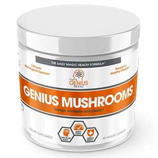 [IN-STOCK] Genius Mushroom – Lions Mane, Cordyceps and Reishi – Immune System Booster & Nootropic Brain Supplement – Wellness Formula for Natural Energy, Stress Relief, Memory & Liver Support, 90 Veggie Pills