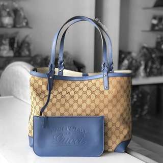 Authentic Gucci Craft Canvad Tote With Pouch
