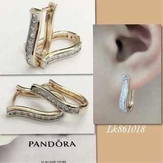 Pandora Italy Gold 10K Loop Earrings Authentic Bangkok Hoop Earrings with High Grade Russian Stones Saudi Gold 18K Women's Loop Earrings (Not Pawnable)