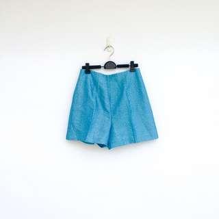 🚚 二手 藍色 印花 變色藍 高腰 短褲 明太子 705