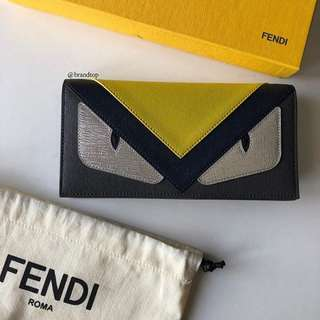 Authentic Fendi Monster Leather Continental Wallet