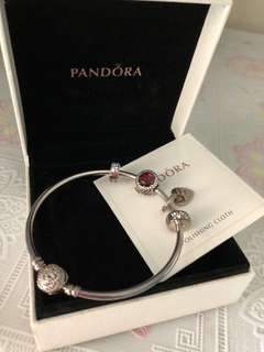 PANDORA Bangle and Charms