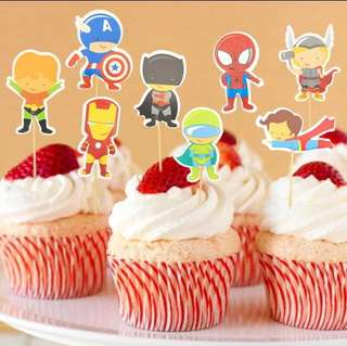 8 pcs Marvel Avengers Cupcake Topper Cake Toppers Birthday Party Decoration Baking Picks