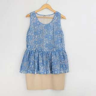 VALENTINO RTW Blue Lace & Cream Peplum Dress