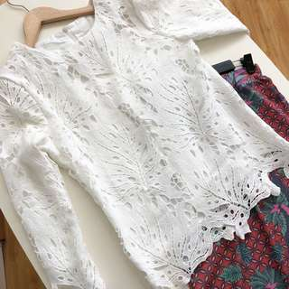 New Lace Top (White & Pink)