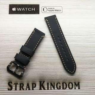 Apple watch - 24mm 小牛皮黑色 B131代用錶帶 (PAM,APPLE WATCH合用)