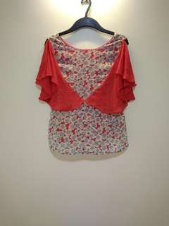Red floral sheer top