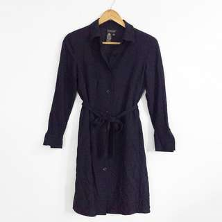 (S-M) Vintage Dark Blue EPISODE Belted Trench Dress / Coat