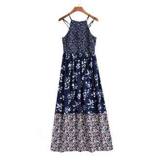 OshareGirl 07 美單女士皺摺鬆緊露背連身洋裝連身裙