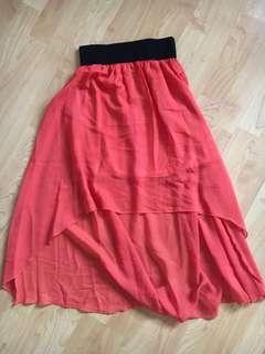 Orange high low skirt