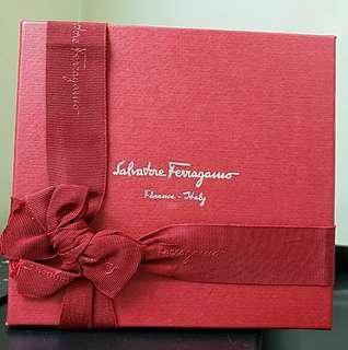 全新 Salvatore Ferragamo 黑色男士銀扣腰帶