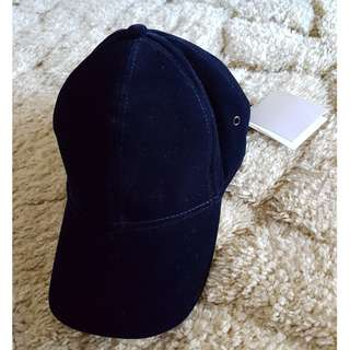 NEW WITCHERY WOMEN VELVET CAP NAVY BLUE HAT
