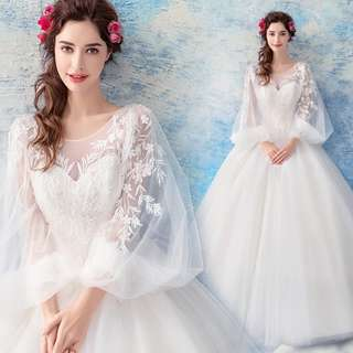 pre order white long sleeve prom bridesmaid wedding bridal gown dress  RB0686