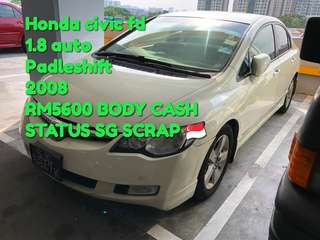 Honda civic fd 1.8 auto Padleshift 2008