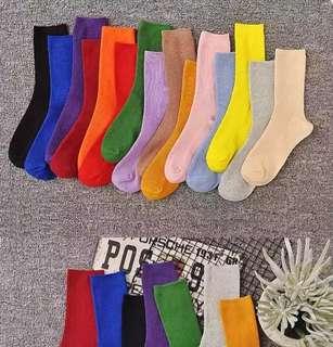 (SET) Colorful Crew Socks