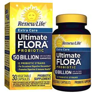 [IN-STOCK] Renew Life - Ultimate Flora Probiotic Extra Care - 50 billion - daily digestive and immune health supplement - 30 vegetable capsules