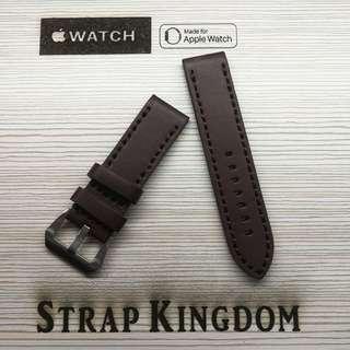 Apple watch - 24mm 厚牛皮深棕色 B112代用錶帶 (PAM,APPLE WATCH合用)