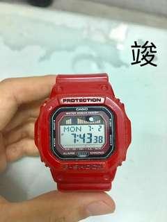 🚚 G-shock GLX-5600系列 潮汐衝浪錶 限量款 衝浪客必備 火焰紅 清新海洋時尚