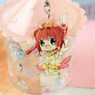 Japanese Anime CardCaptor Sakura Transparent Acrylic Pendant Otaku Comics Key Ring Keychain