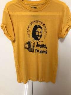 🚚 耶穌 我醉了 趣味 搞笑 黃色 T-shirt t恤 美國製 made in USA