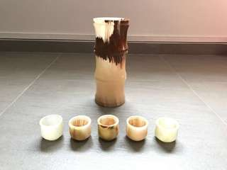 Antique Vintage ONYX Marble Tea Cups and Incense Holder