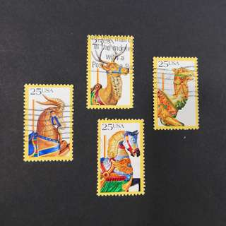 USA. American Folk Art - Carousel Animals compete set of stamps