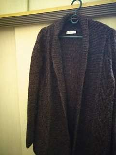 Rust Coloured Wool Long Cardigan
