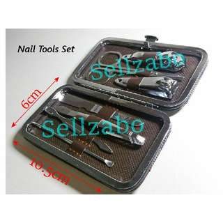7 Pcs Nails Care Tools With Brown Case Holder Sellzabo