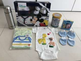 Bundle of baby items - clothing, formula, etc