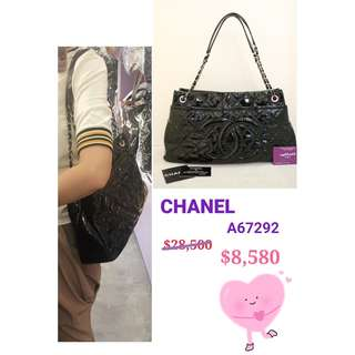 90% New CHANEL A67292 黑色 漆皮 CC Logo 銀鏈 肩背袋 手提袋 手袋 Black Patent Handbag with Silver Hardware