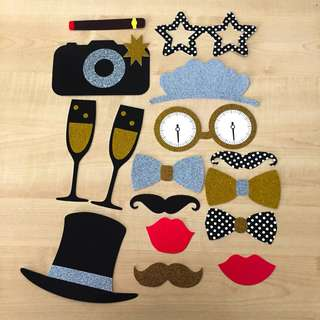 Gold and black wedding birthday Photo Booth Props