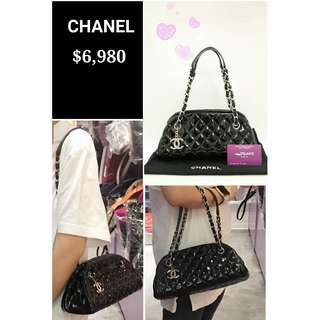 90% New CHANEL Mademoiselle 黑色 漆皮 菱格紋 銀鏈 肩背袋 手提袋 手袋 Black Quilted Patent Small Handbag